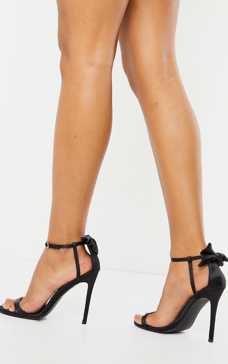 Black Satin Strappy Bow Back High Heels 2