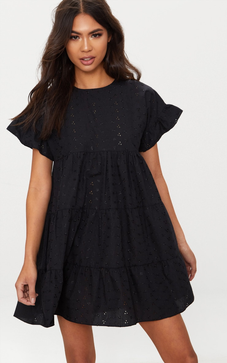 Black Broderie Analgise Smock Dress 4