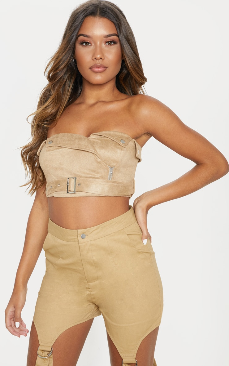 Tan Faux Suede Bandeau Crop Top 1