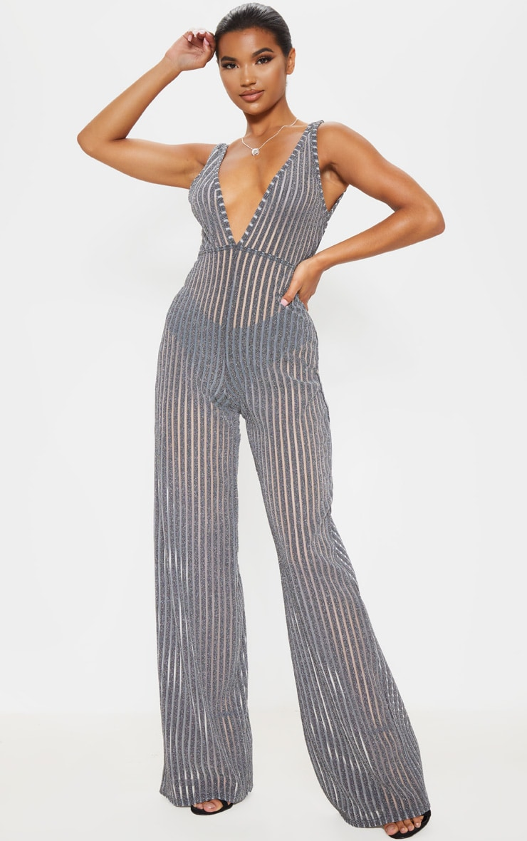 Silver Striped Glitter Plunge Jumpsuit 1