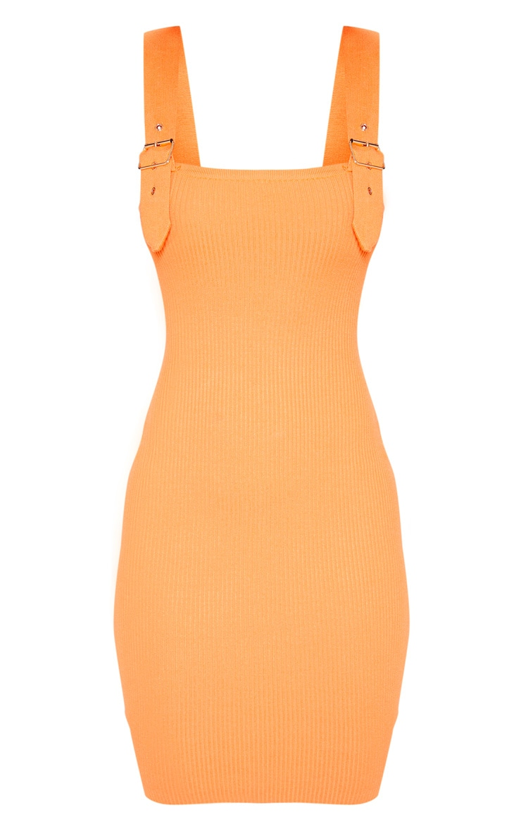 Orange Buckle Detailed Ribbed Knitted Dress  3
