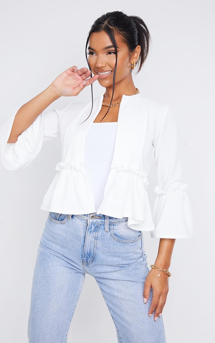White Frill Sleeve Blazer 1
