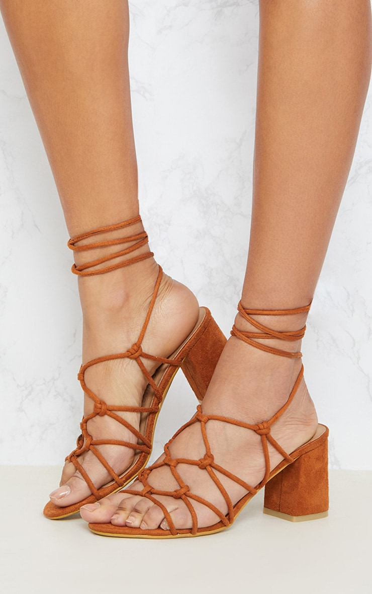 Tan Block Heel Leg Tie Sandal 2