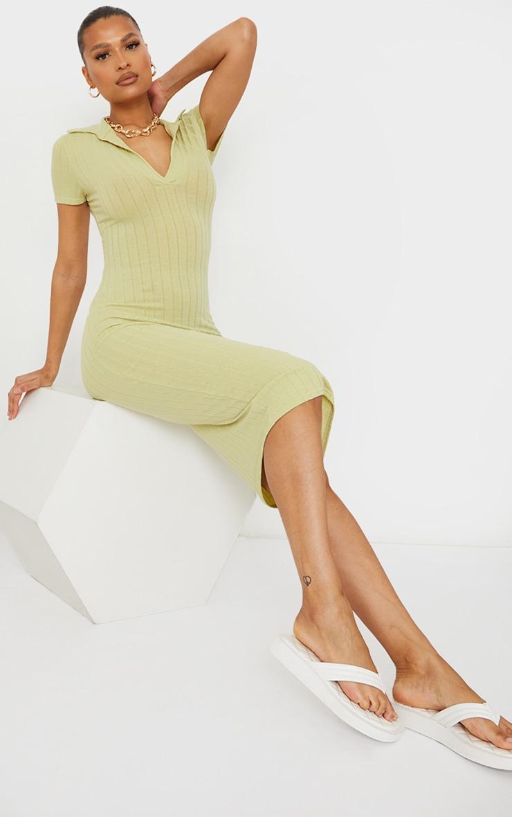 Sage Green Rib Open Back Polo Collar Detail Midi Dress 2