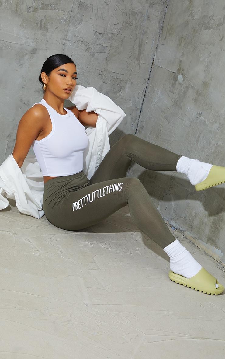 PRETTYLITTLETHING Khaki Logo Leggings
