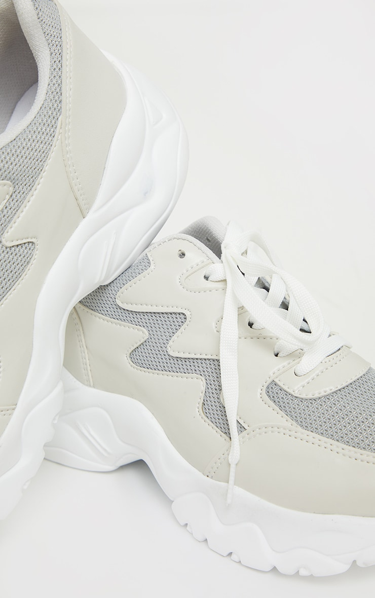 Stone Mesh And PU Contrast Wave Sneakers 4