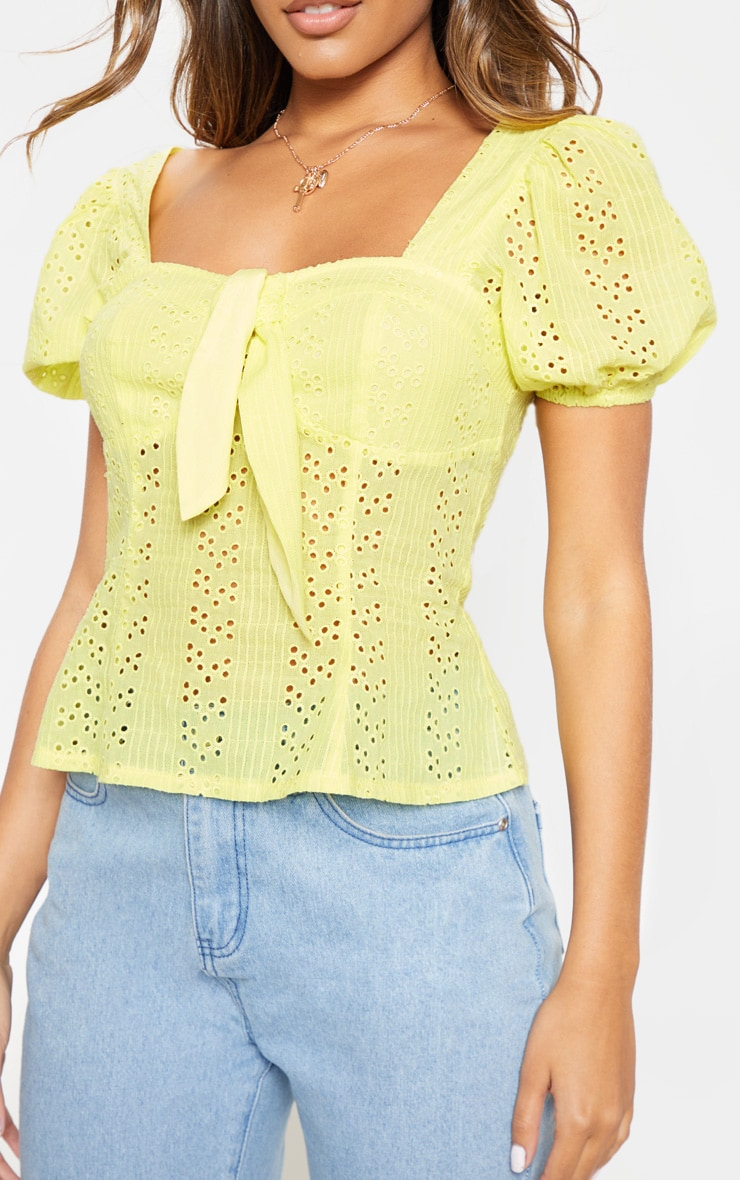 Lemon Broderie Anglaise Puff Sleeve Tie Front Top 5