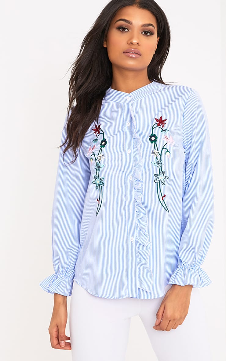 Linette Blue Embroidered Stripe Shirt 1