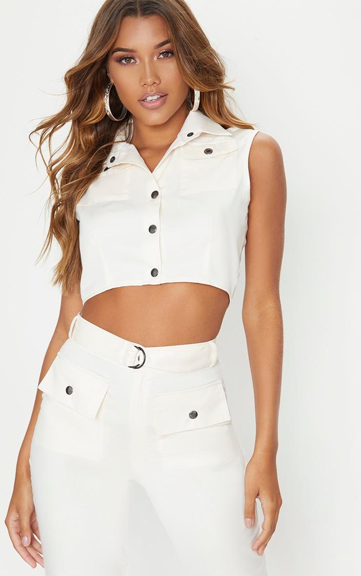 Cream Cargo Collar Button Detail Crop Top