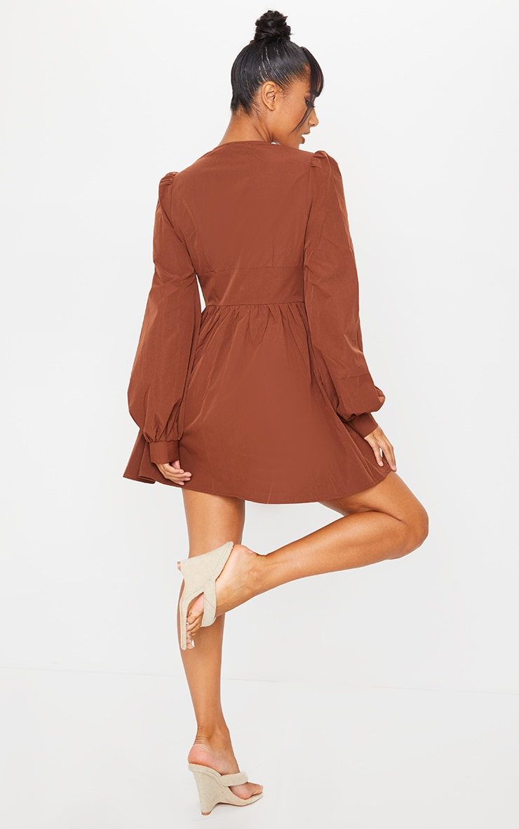 Chocolate Button Front Fitted Puff Sleeve Skater Dress 2