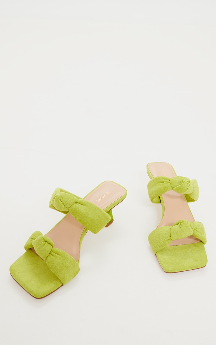 Lime Padded Knotted Twin Strap Low Heel Mules 3