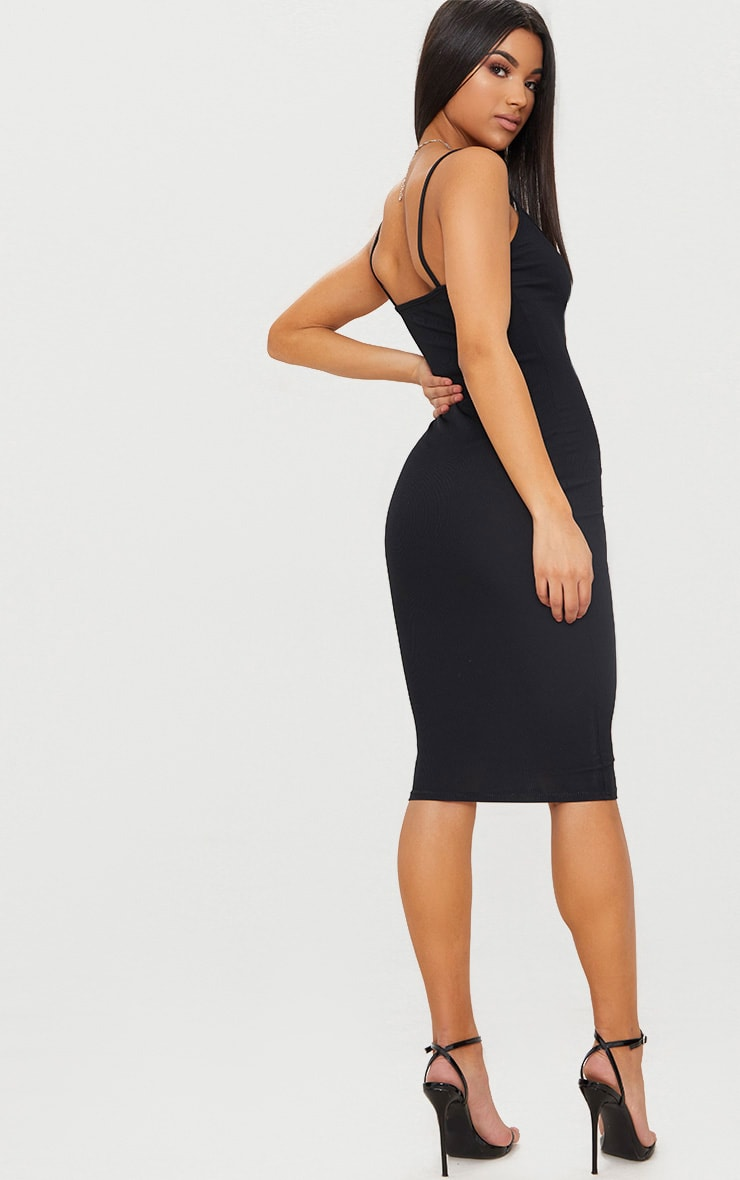 Black Ribbed Plunge Bodycon Dress 2