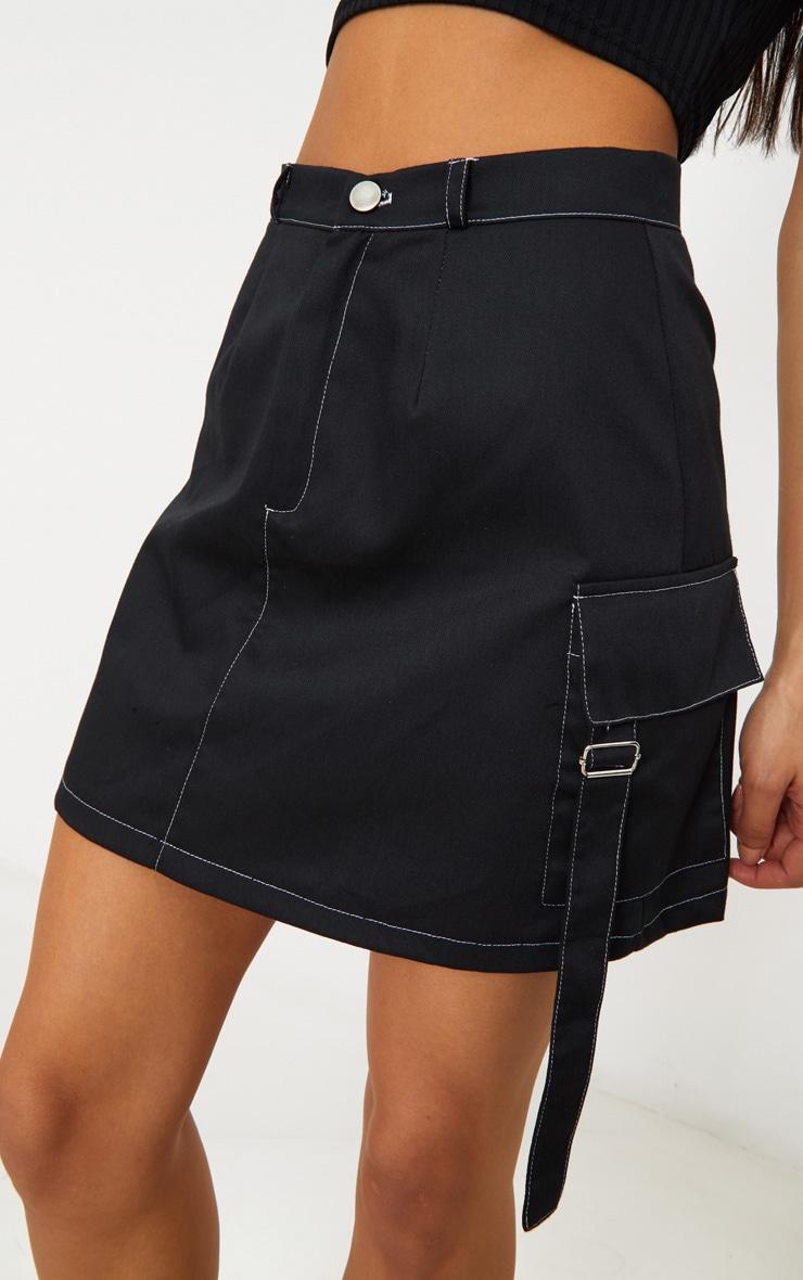 Black Contrast Stitch Buckle Pocket Detail A Line Skirt 6
