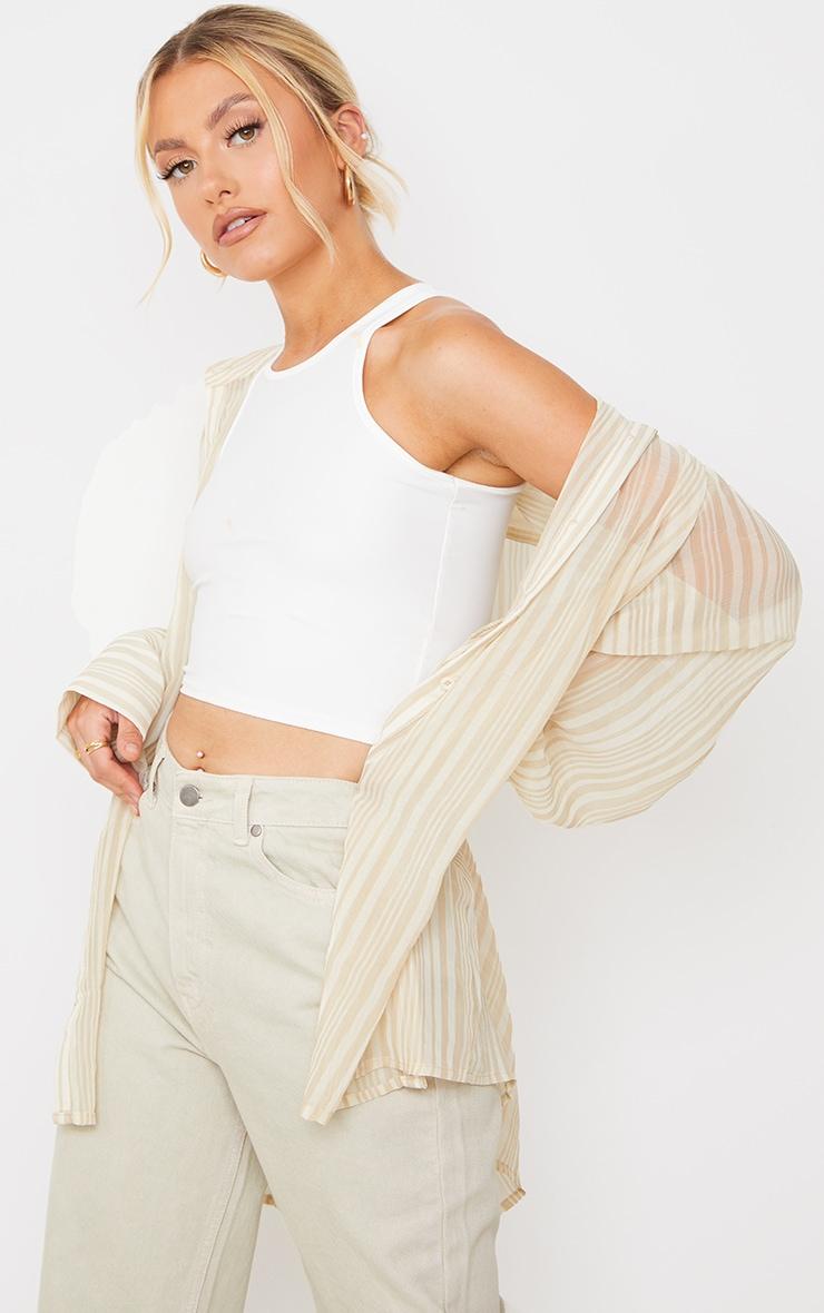 Beige Textured Stripe Woven Oversized Shirt 1