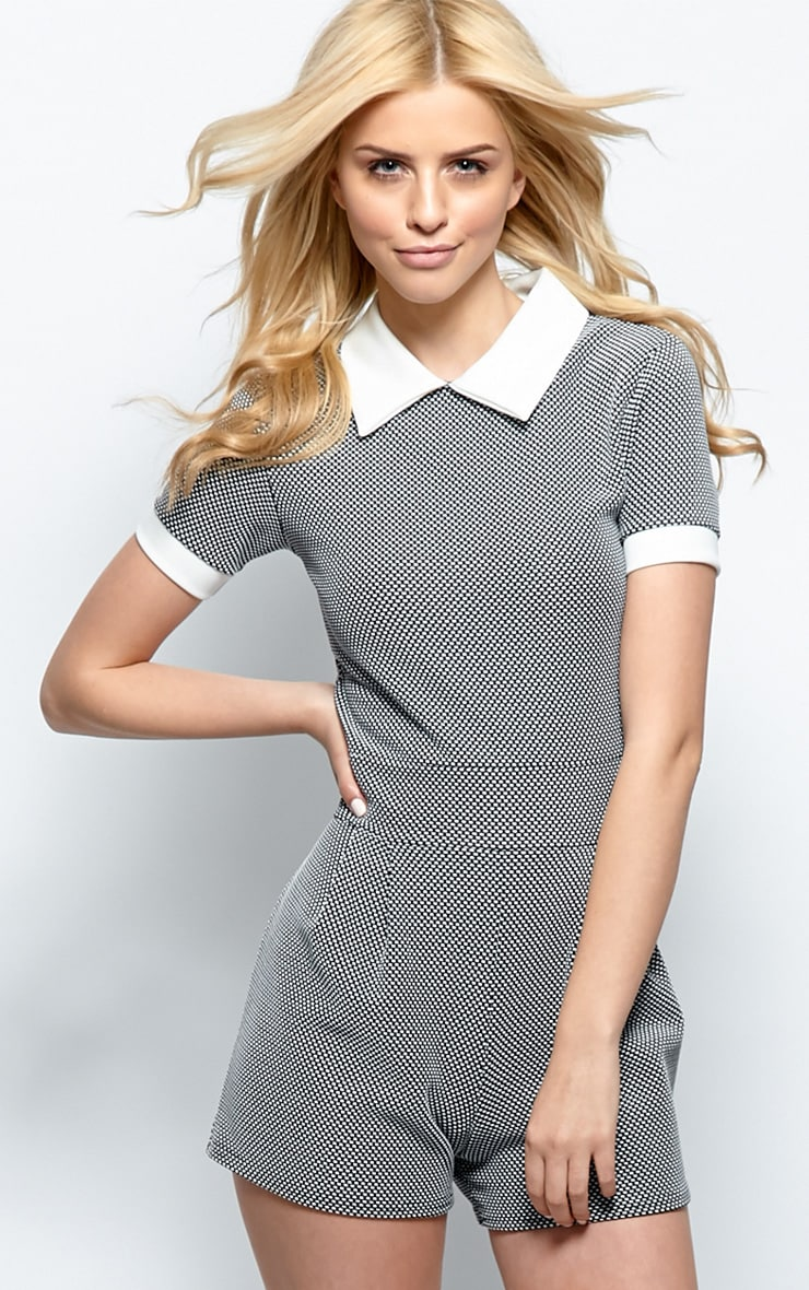 Fifi Black & White Gingham Collar Playsuit 1
