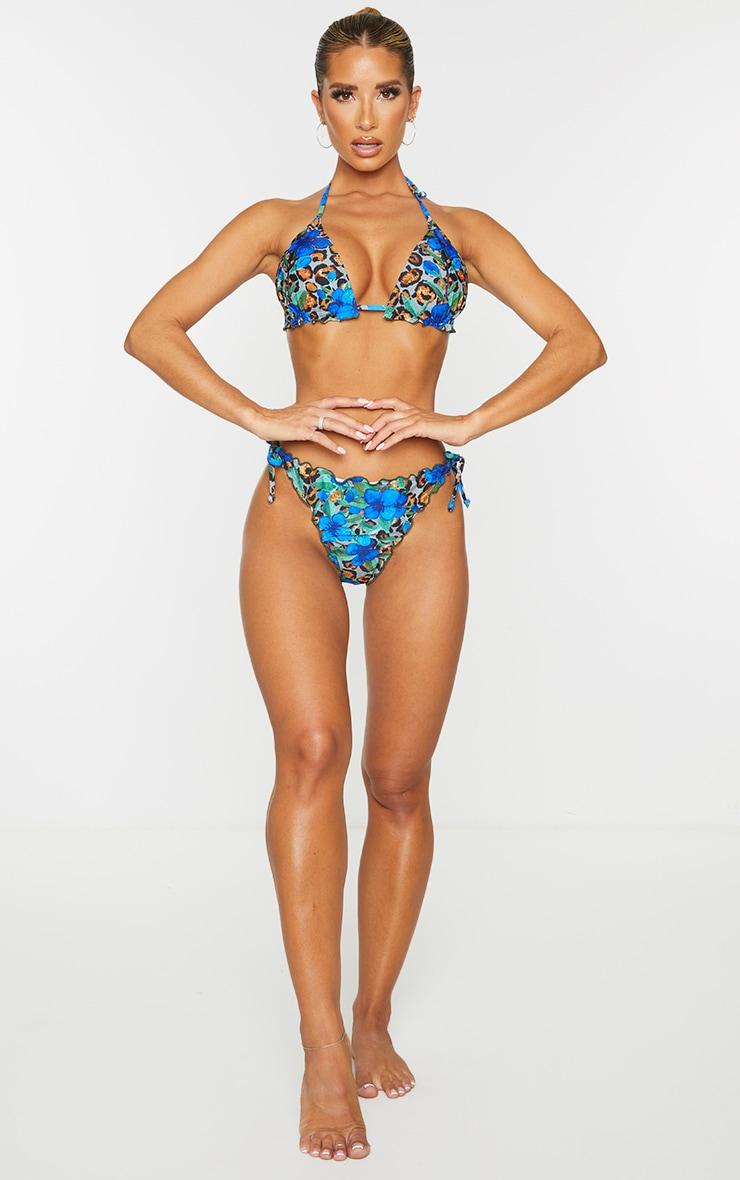 Blue Floral Animal Frill Edge Ruched Back Bikini Bottom 3