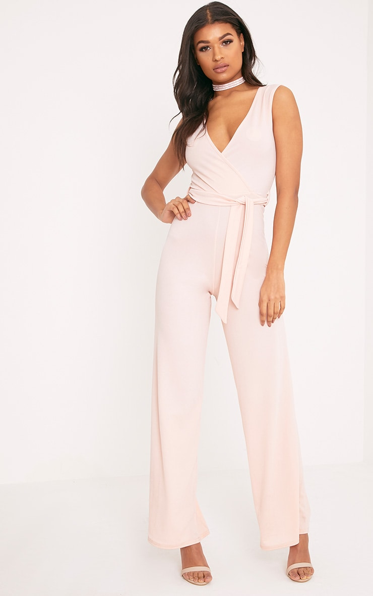 Harriet Blush Wrap Detail Tie Waist Jumpsuit 1