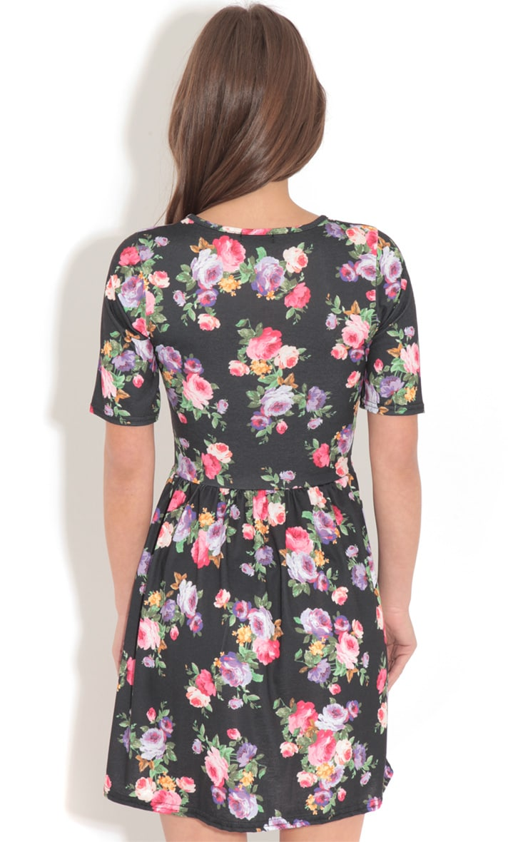 Christie Black Floral Skater Dress  2
