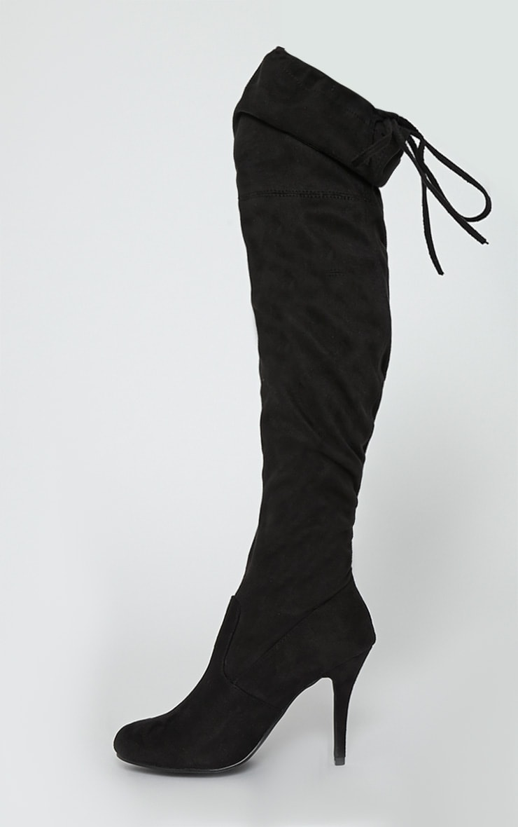 Ayanna Black Suedette Over The Knee Heeled Boots 5