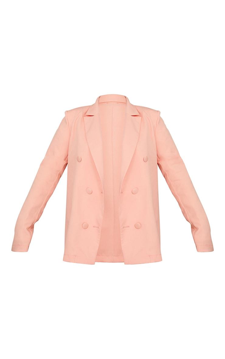 Peach Woven Triple Breasted Blazer 5