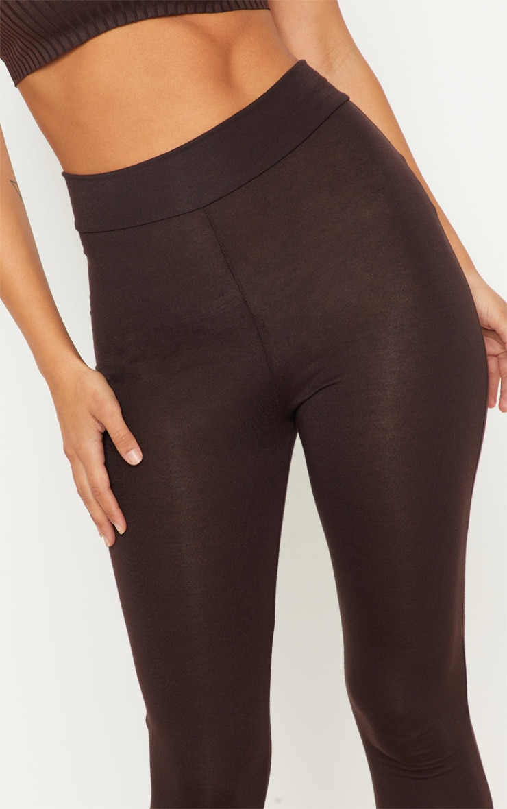 Chocolate  High Waisted Jersey Leggings 5