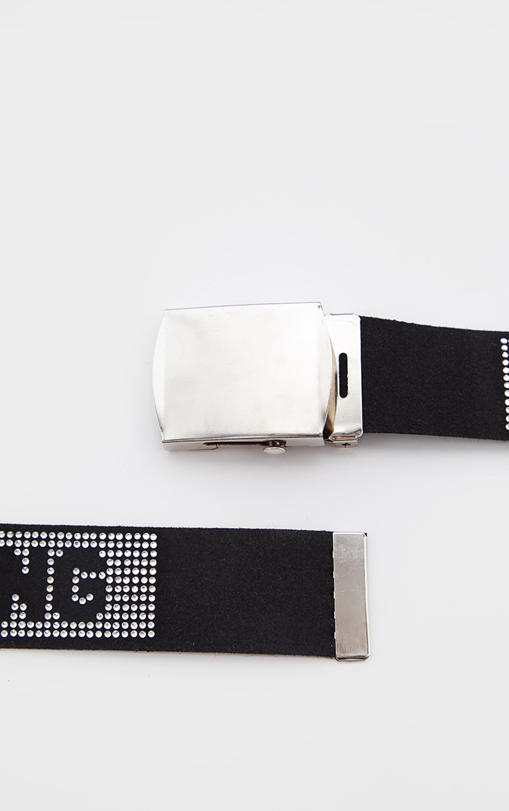 PRETTYLITTLETHING Black Diamante Tape Buckle Belt 3
