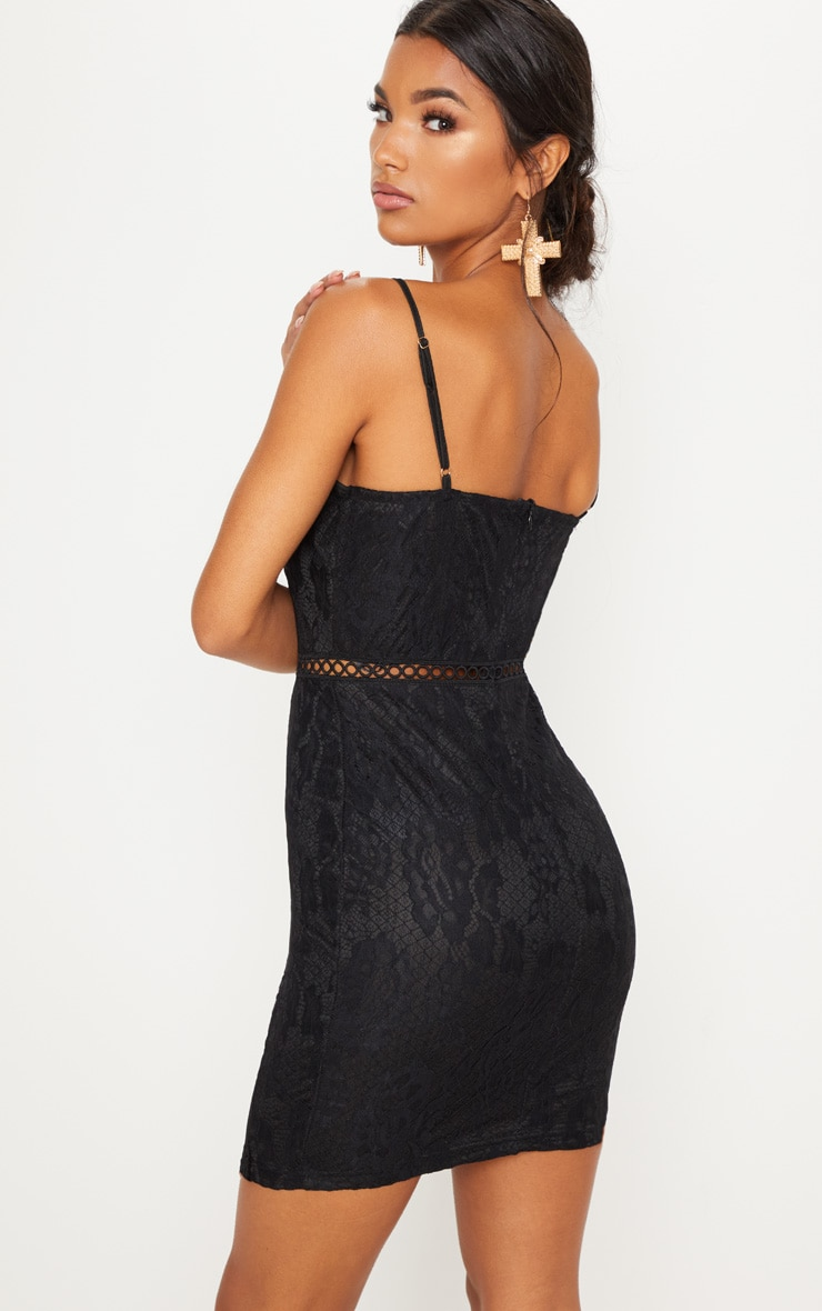 Black Strappy Lace Velvet Insert Bodycon Dress 2