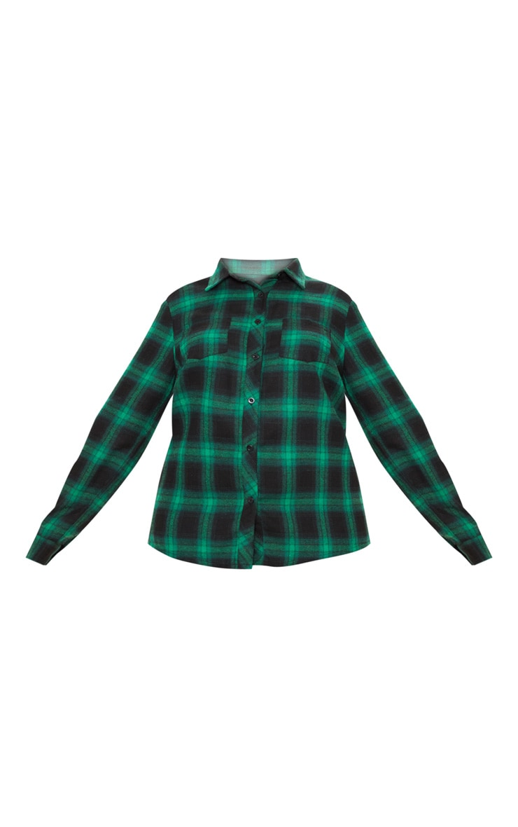 Plus Green Tartan Oversized Shirt 3
