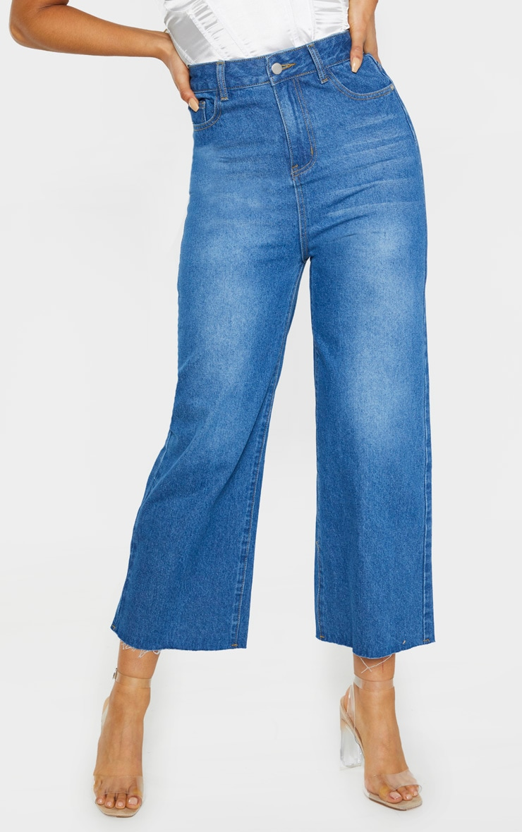 Tall Light Wash Wide Leg Cropped Jeans 2