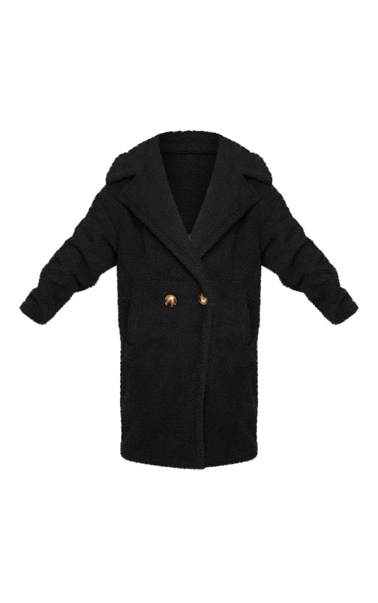 Petite Black Borg Oversized Coat 3