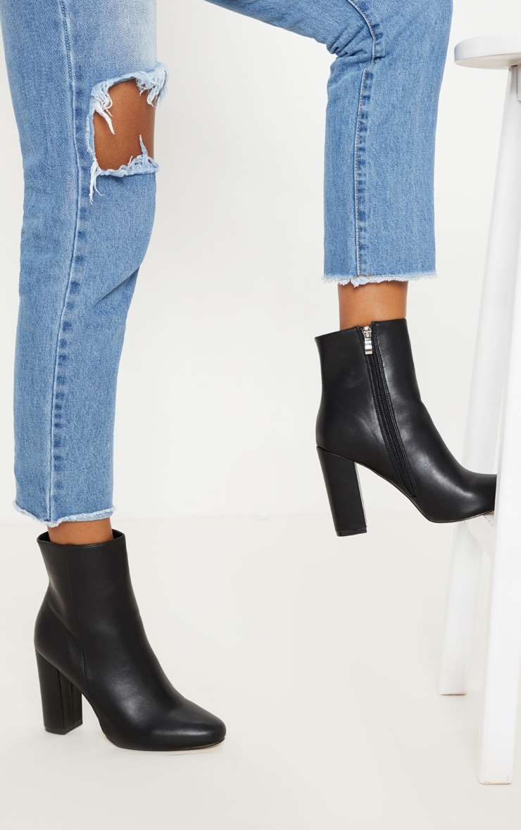 Black Faux Leather Ankle Boot 1