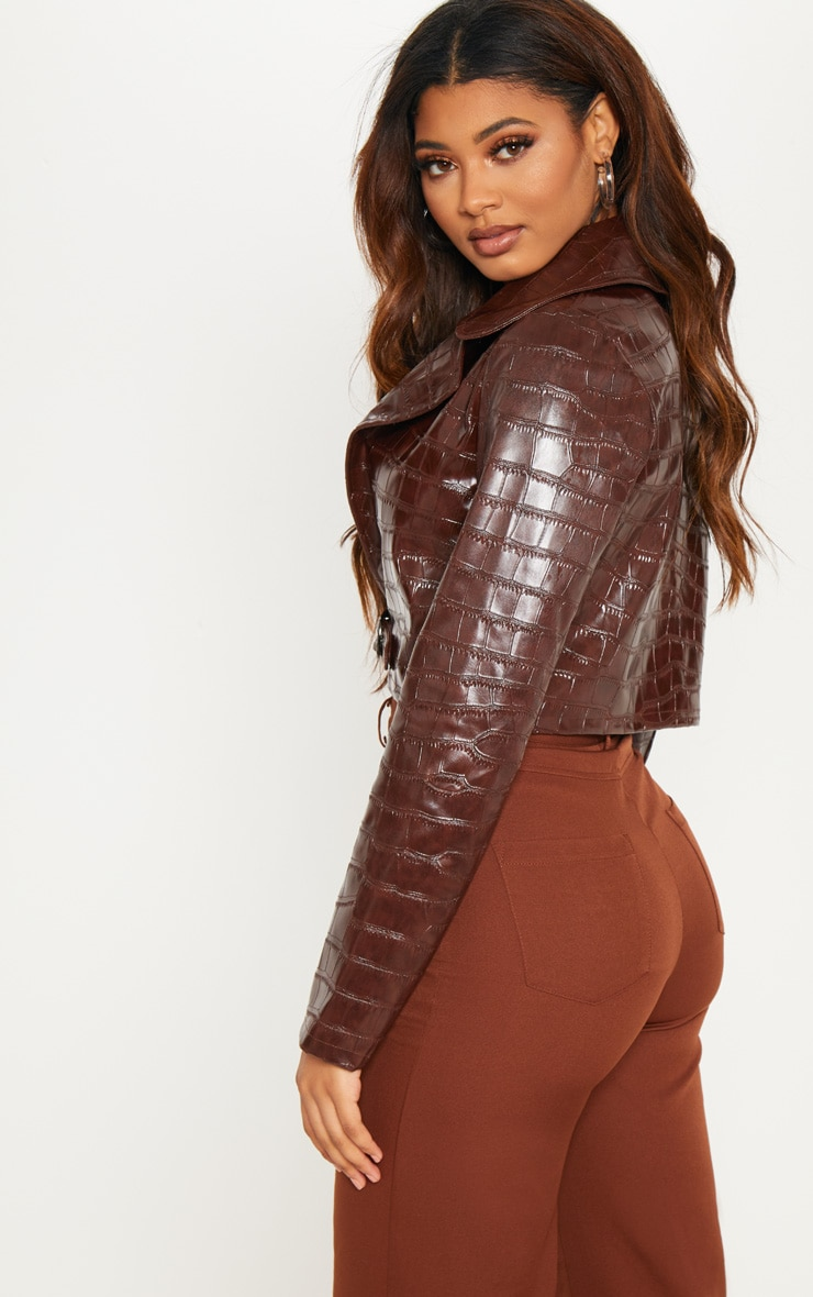 Tall Chocolate Brown PU Croc Crop Jacket 2