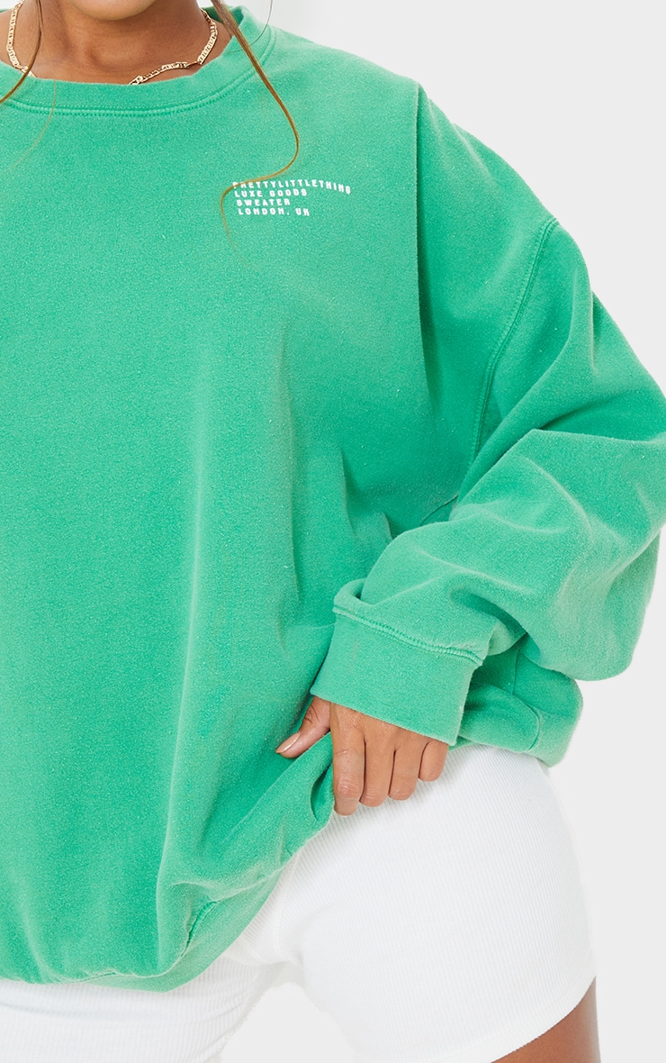 PRETTYLITTLETHING Green Luxe Good Small Print Text Sweat 4