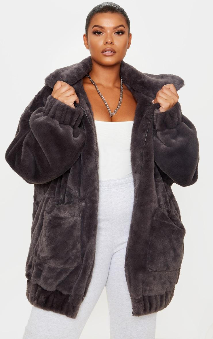 Plus Grey Faux Fur Pocket Front Coat 1