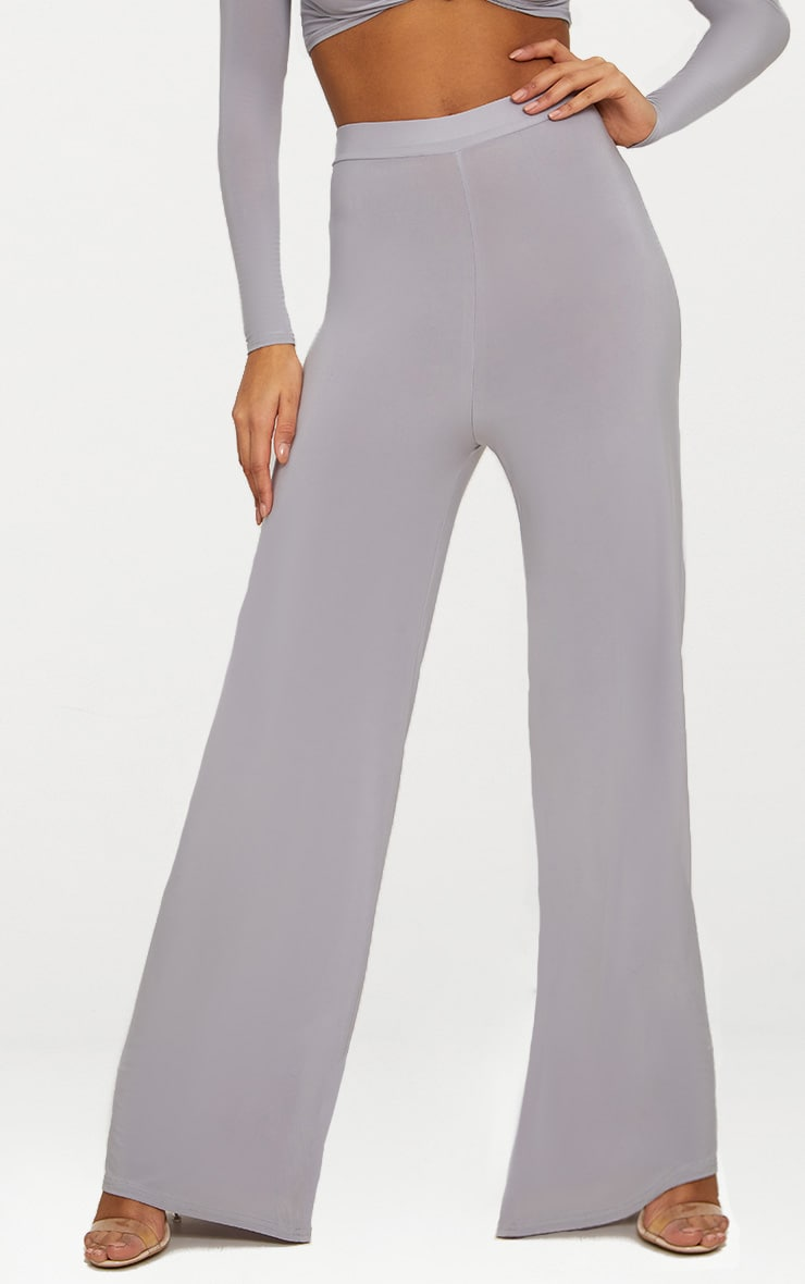 Ice Grey Slinky Wide Leg Pants  2