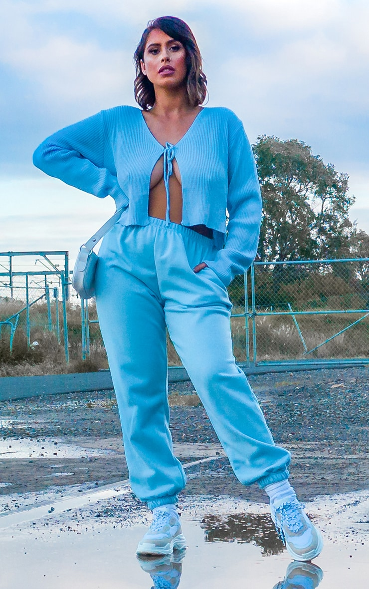 Pastel Blue Casual Track Pants 1