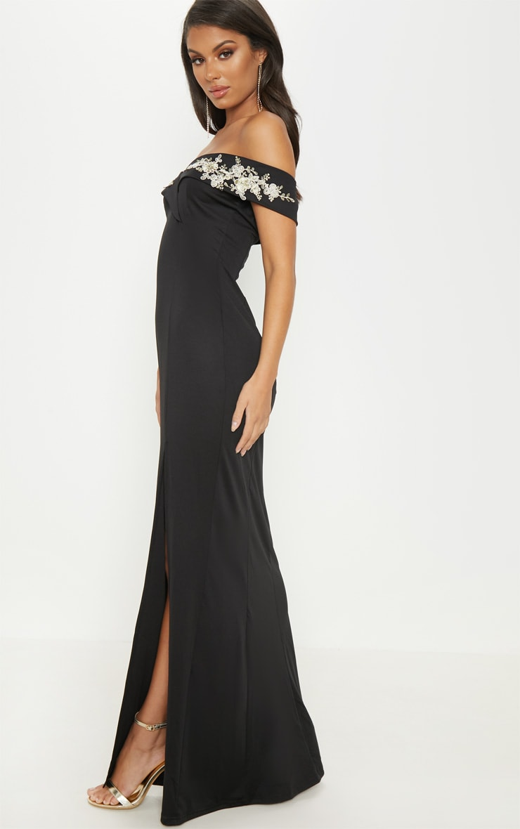 Black Applique Detail Bardot Maxi Dress 4
