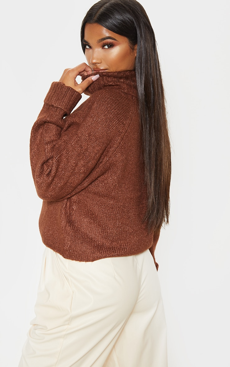 Brown Fluffy Chunky Roll Neck Sweater 2