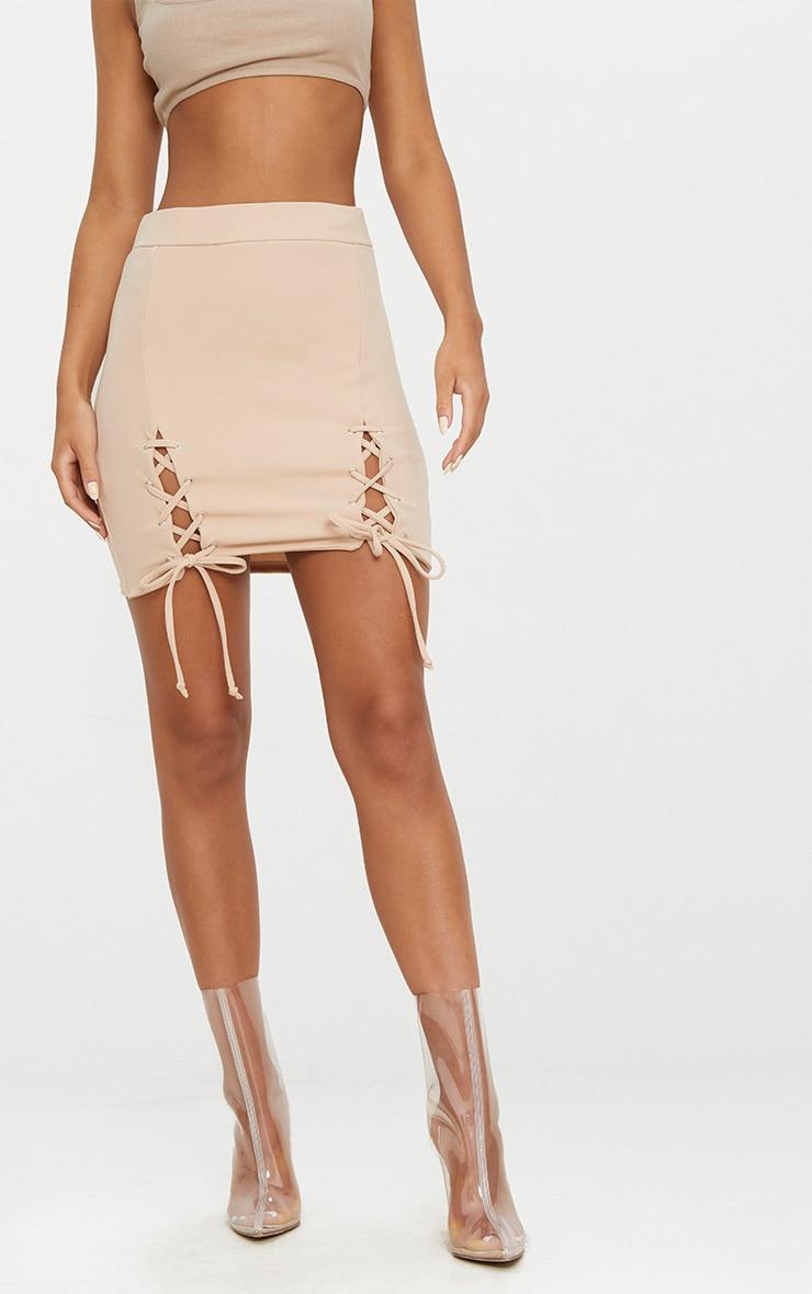 Stone Double Split Lace Up Mini Skirt  2