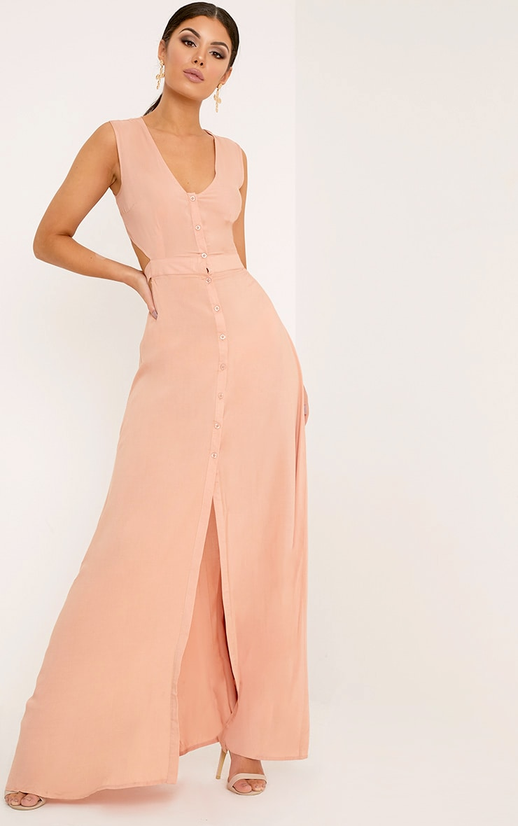 Harlie Nude Tie Back Button Down Maxi Dress 1
