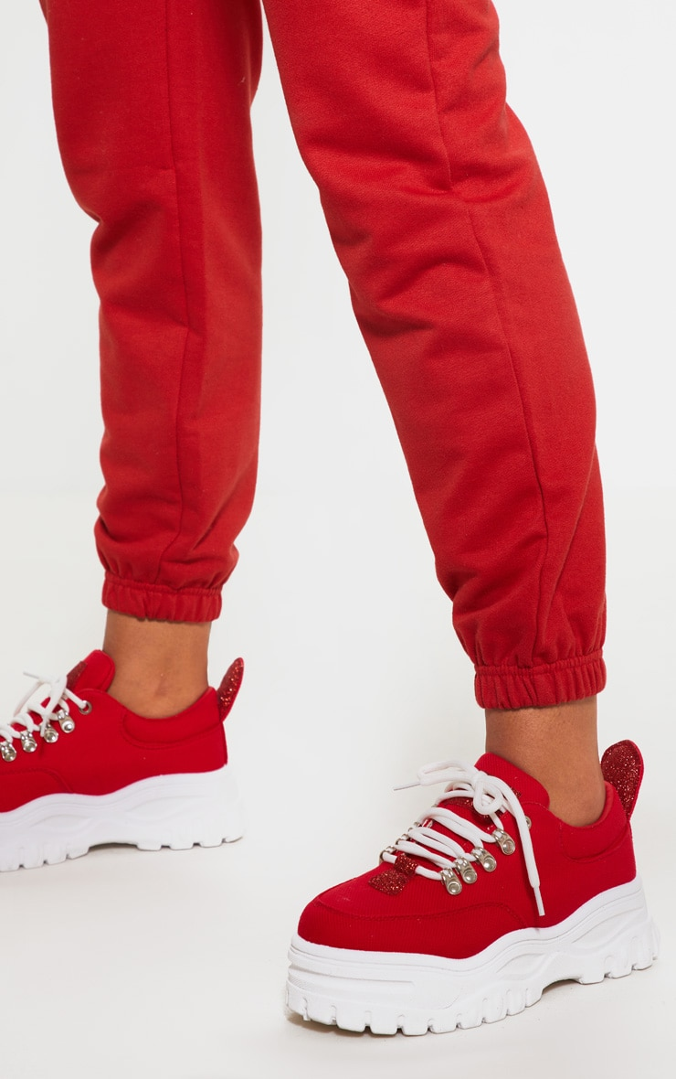Red Flatform Chunky Hiker Trainer 2