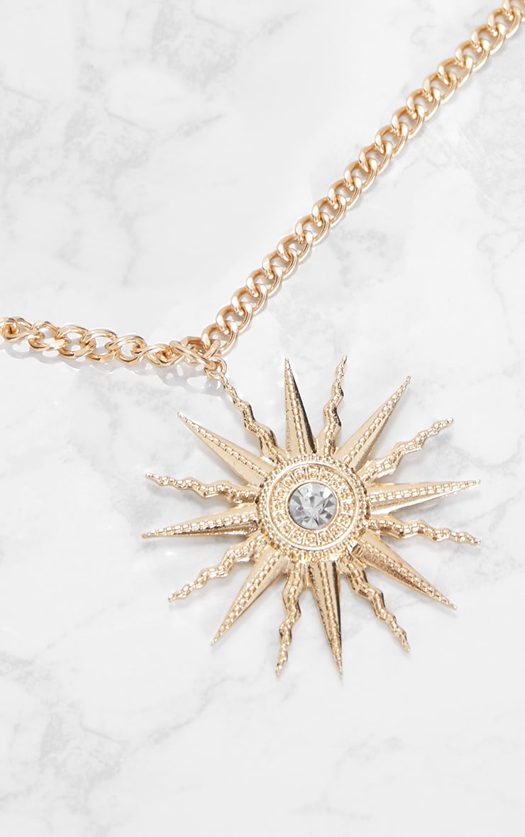 Gold Sundial Pendant Necklace 2