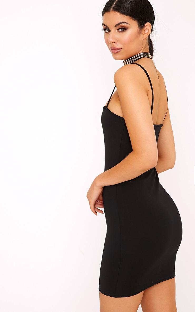 Desri Black Straight Neck Bodycon Dress 2