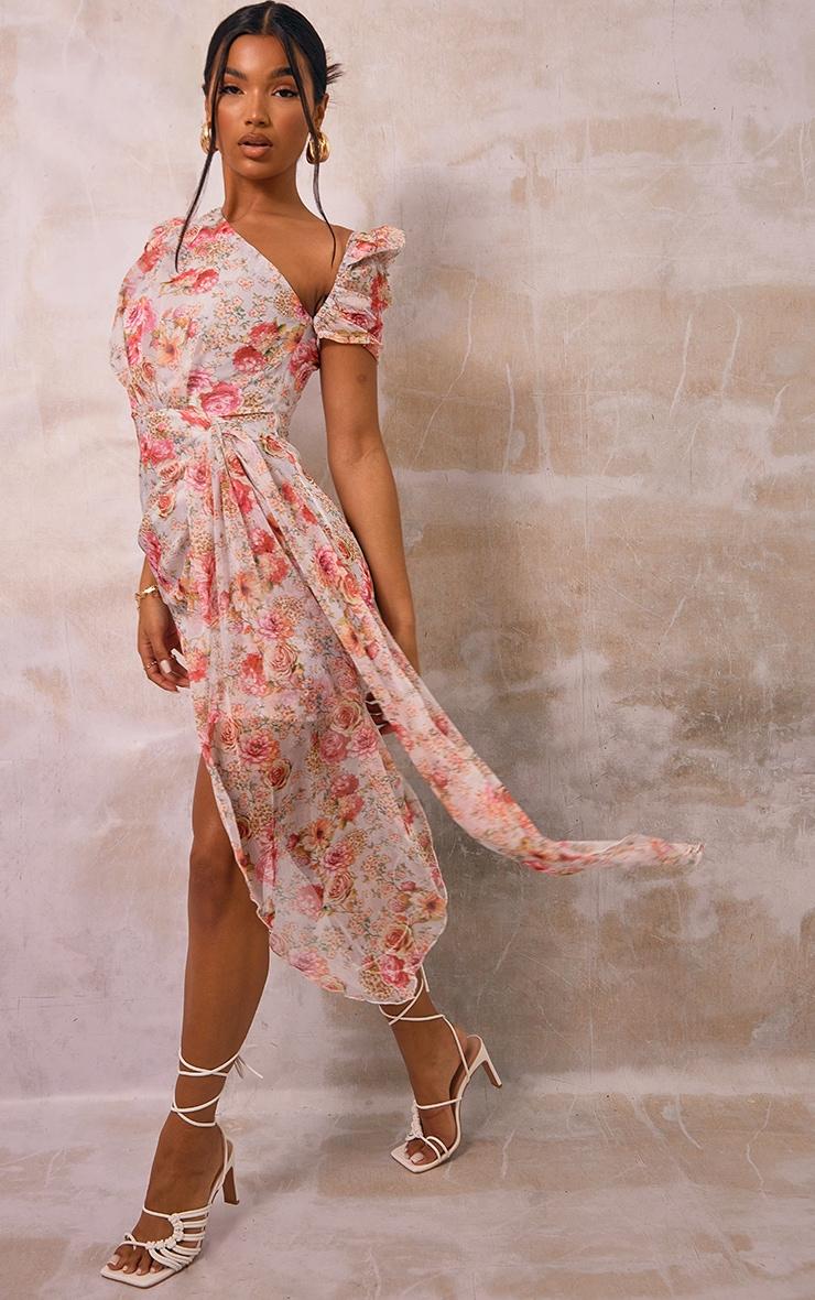 Pink Floral Print Chiffon One Shoulder Draped Bodycon Dress 3