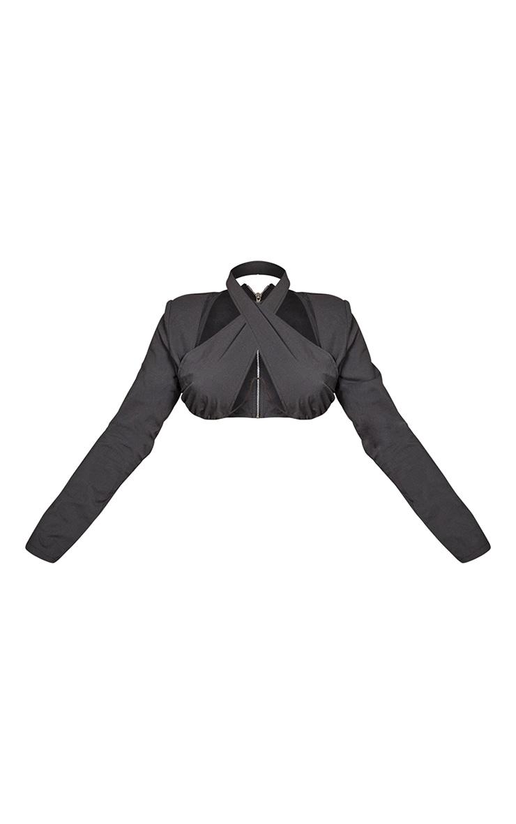 Black Woven Cross Front Underbust V Bar Long Sleeve Crop Top 5