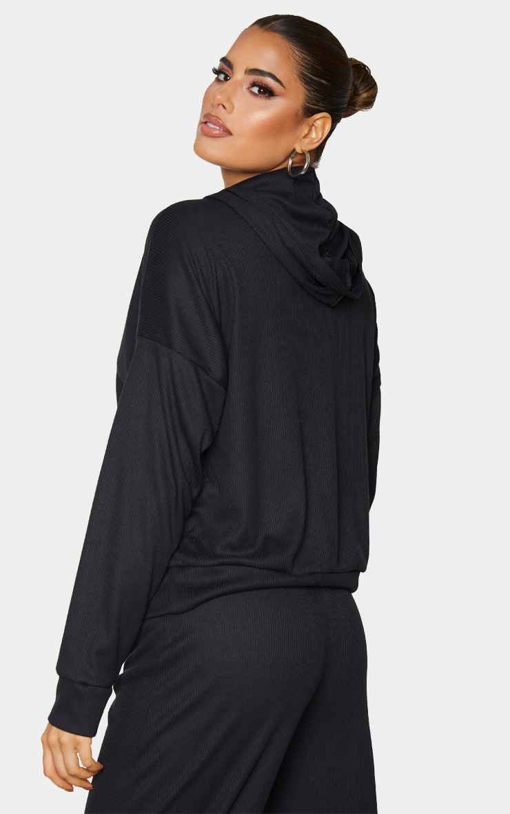 Tall Black Ribbed Oversized Hoodie 2