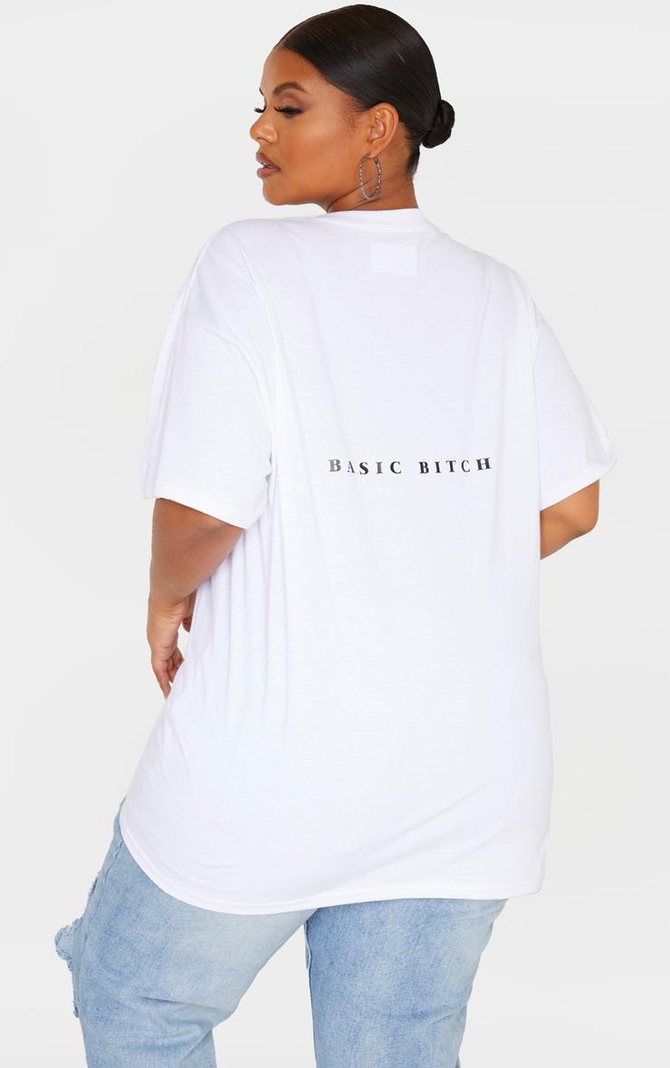 Plus White Oversized Basic Bitch Slogan T Shirt 2