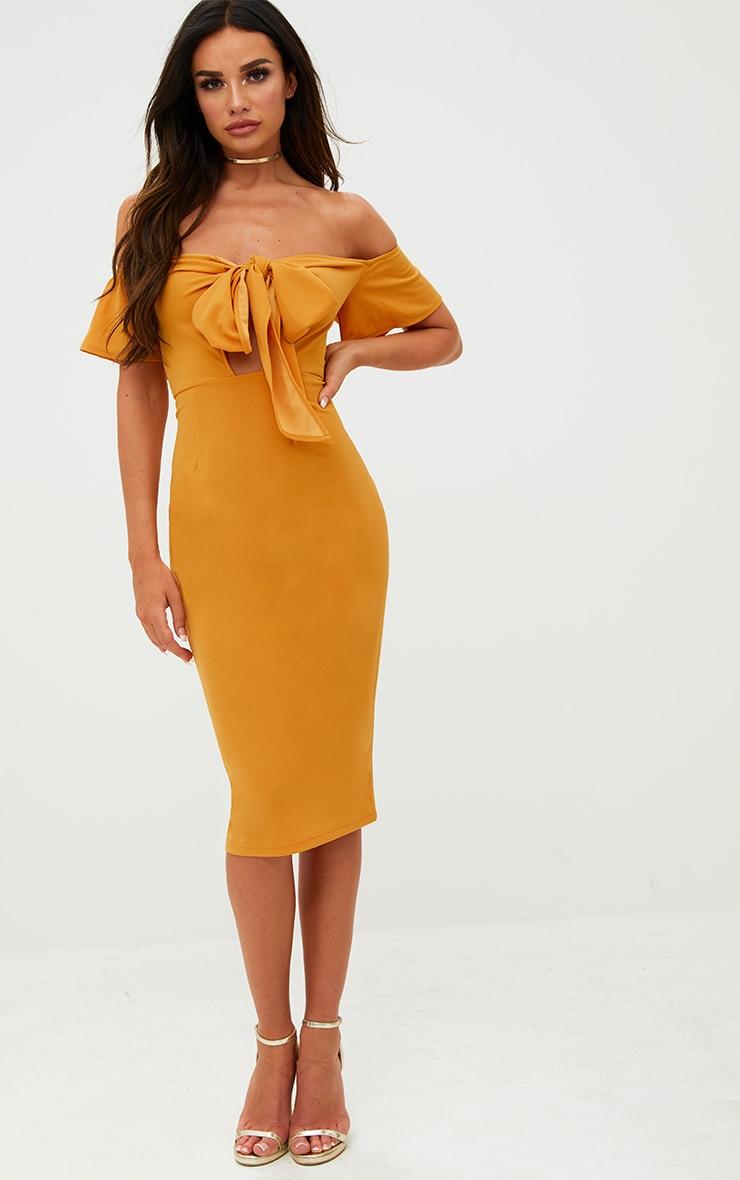 Mustard Bardot Tie Front Midi Dress 4