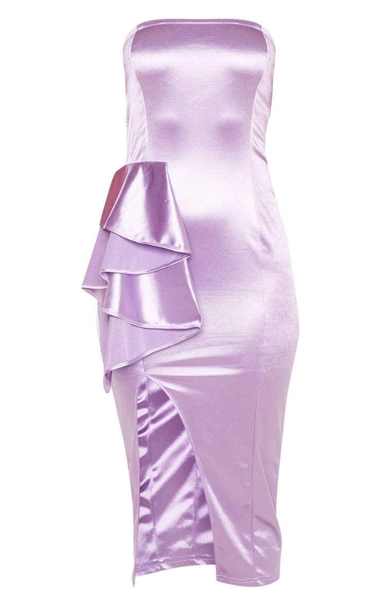 Robe bandeau mi-longue satinée lilas à détail volanté 3