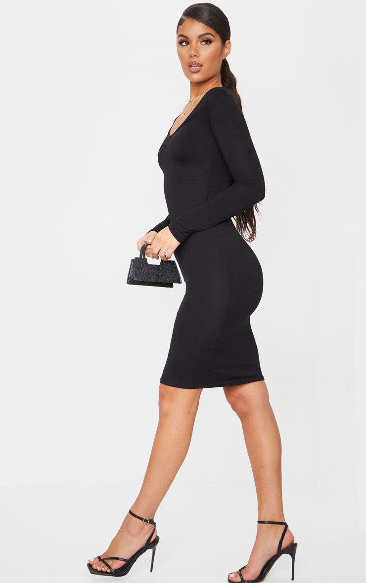 Black Jersey V Neck Long Sleeve Midi Dress 3